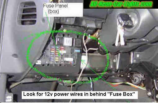 how to install interior car lights neon and led rh all neon car lights com Car Fuse Box Diagram fuse box car lighter